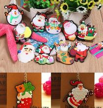 2017 Hot sale Christmas Santa Claus Keychain Cartoon Christmas Tree Pendants Ring Key Chain Gift Mix Styles X34