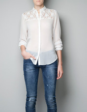 2013 fashion show style spring summer Europe and the United States back and shoulder laces plicing shirt bud silk chiffon blouse