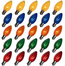 Pack of 25pcs C9 Multicolor Replacement Christmas Light Bulbs E17 Base for light strand, Opaque(China)