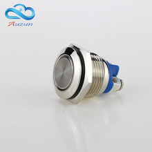 16 mm Flat head metal push button switch reset button 3 a250v moment start waterproof rust mechanical equipment horn