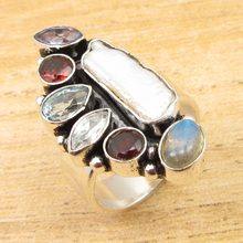 Ring Size US 6 !  Silver Plated Natural Multistone MADE IN INDIA Jewelry NEW