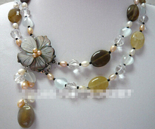 DYY+++818 5 colors!fine 2 row mixed pearl & colorful  stone  necklace pendant