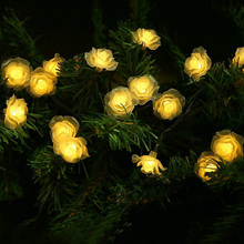 4.8M New Arrive 20 LED Solar The Roses Fairy String Light Waterproof Solar Powered Outdoor Light Garden Lamp Christmas Decor(China)