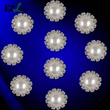 Fashion Round Flat Back Rhinestone Button Pearl Wedding Embellishment Buckle CT0231