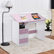Giantex Adjustable Top Drawing Desk Modern Drafting Table Pink Workstation Furniture with Drawers HW52647(China)