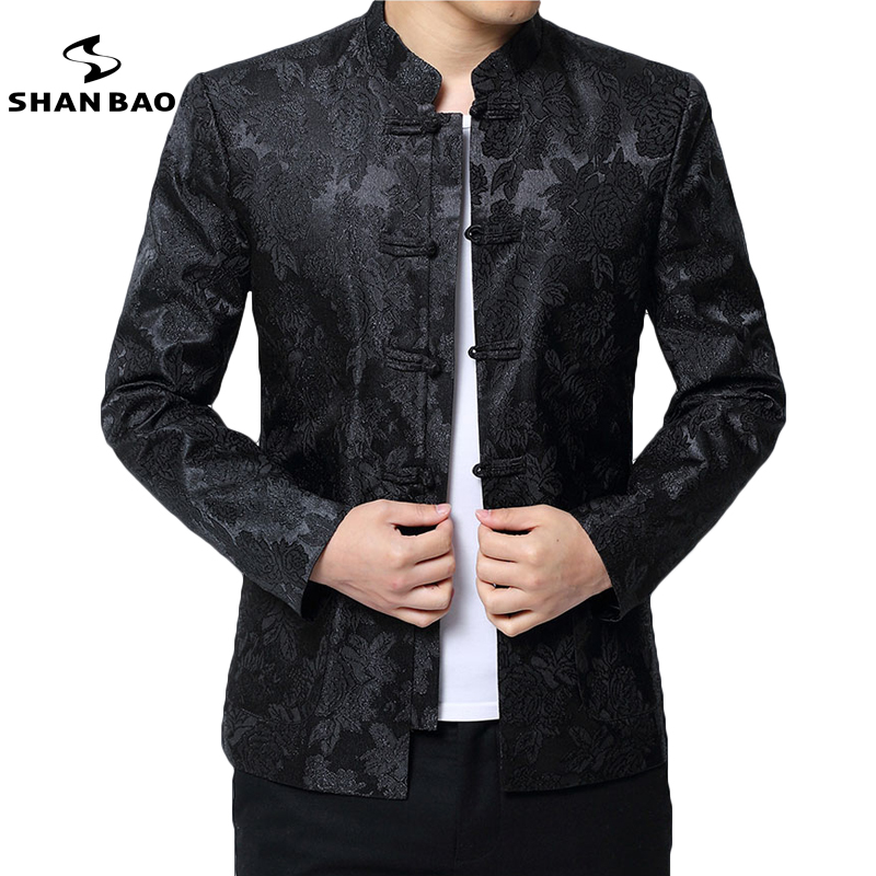 SHAN BAO brand Chinese style Tang suit men stand collar casual jacket 2018 spring flower jacquard embroidery jacket
