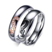 Free Engraving Heart Puzzle Design Couple's Stainless Steel Gay Lesbian Pride Rings
