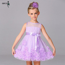 OFCS Summer Girl Clothes Kids Dresses For Girls Lace Flower Dress Baby Girl For Party And Wedding Party Bonny Clothes 3-12Year(China)