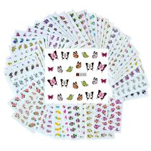 50 Sheets 3D Nail Art Water Transfer Flower Sticker Colorful Tips DIY Decoration  Nail Stickers Wraps Foil Sticker Manicure