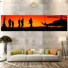 3-4-5 Pieces Sunset Soldiers On Mission Wall Art Canvas Painting Art Print Picture Frame Modern Pictures for Living Room(China)