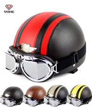 Retro Halley style YOHE Motorcycle helmet summer motorbike helmets YH-998 made of ABS send goggles 7 colors size M L XL XXL(China)
