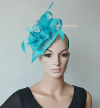 NEW Turquoise blue sinamay fascinator/sinamay hat in SPECIAL shape w/feathers.red,navy,purple,brown,wine,pink.FREE SHIPPING