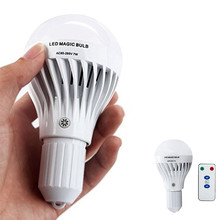 RAYWAY LED Dimmable 7W E27 White LED Rechargeable Emergency Magic Bulb Light Flashlight 85-265V with remote controller lighting