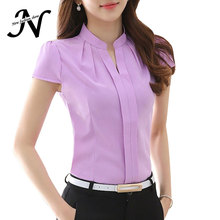 2017 New Office Women Shirts Blouses White Pink Purple Elegant Ladies Chiffon Blouse Short Sleeve Womens Tops Chemise Femme 3904