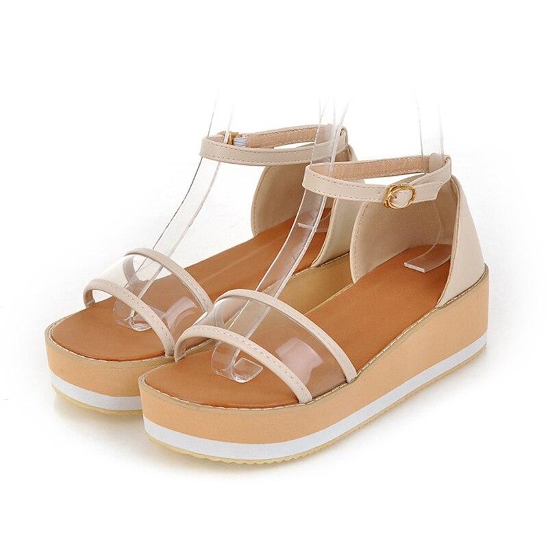 Japanese sweet style summer cool sandals fashion belt buckle comfortable platform yellow purple beige flat womens shoes<br>