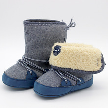 Toddler 0-18 Months Baby Boy Shoes Autumn Winter Warm Snow Boots Foot Wear Lace Up Soft Sole Shoes Infant Kids First Walkers