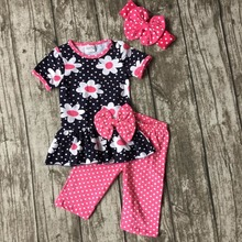 baby girls Summer outfits daisy floral clothes cotton hot pink polka dot boutique capri clothes kids sets matching headband sets(China)