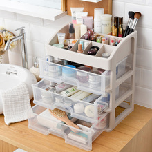 Plastic 3 Drawers Jewelry Cosmetic Desk Organizer Make Up Organizer Makeup Tools Book Bathroom Office Organizer Holder Box Case