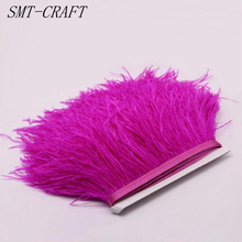 Cheap 2 meters 10-15CM high quality real colored ostrich feather trims for skirt/dress/costume feathers ribbon plumas Cloth Belt