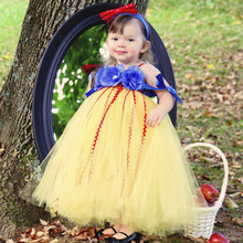 Princess Snow White Baby Girl Tutu Dress Red Yellow Color Flowers Fluffy Tulles Dresses Children Cos Bow Tutus Clothing