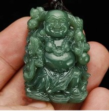 Free shipping Natural Hand-carved Chinese Hetian Jadee Pendant - Green Jadee Carved Buddha Lucky Amulet Pendants Necklace