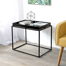 Minimalist Modern Design Metal Steel loft Tray Side Table, Fashion loft metal living room Small sofa side Tray Corner Table 1pc(China)