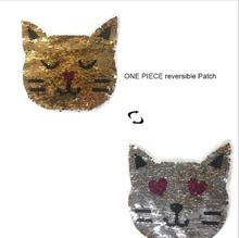 2017 NEW cat Reversible Change color Sequins Sew On Patches for clothes DIY Patch Applique Bag Clothing Coat Jeans Craft(China)