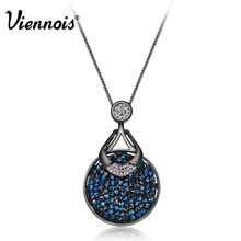 Viennois Rose Gold/Gun Plated Round Pendant Necklaces for Woman Blue Crystals from Swarovski Luxury Necklace Accessories(China)