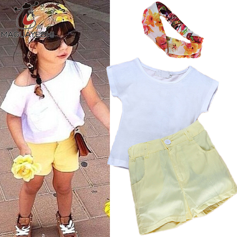 Causal Summer Girls Clothes Set Children Short Sleeve White T-Shirt+Yellow Pants Sport Suits Baby Girls Clothing Set Outfits<br><br>Aliexpress