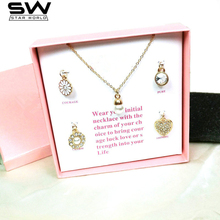 2017 hot sale fashion week set necklace 5 Pendants/set Clavicle chain necklace with 2 color packing box optional best gifts(China)