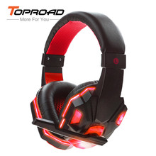 Glowing Wired Headphones 3D Surround Sound AUX Gaming Headset with Mic Volume Control LED Light Auriculares for Computer Gamer