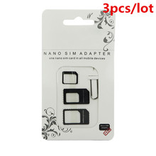 3pcs Nano SIM Card Adapter 4 in 1 micro sim adapter with Eject Pin Key Retail Package for iPhone 5 5S 6 7 4 for Samsung S8 plus