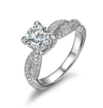 1CT Unique Designer Solitaire White Gold Diamond Engagement Gold Ring For Women Jewelry AU750 Gold Wedding Jewellery
