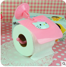 (5 Pcs/Lot) Kawaii Hello Kitty Plastic Toilet Hanging Sucker Tissue Canister 17*13cm