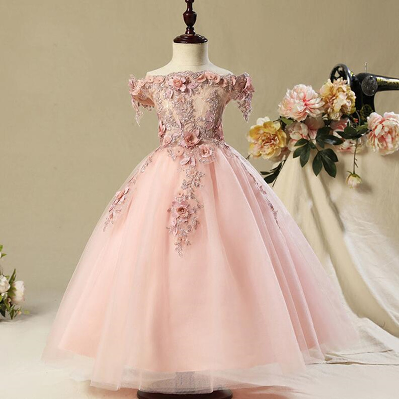 Princess Flower Girl Dress For Wedding Communion Birthday Party Dress Girl Lace petal Banquet party Dress