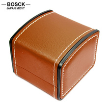 BOSCK Brown Leather PU Original Watch Boxes Dress Casual Antique Watch Box for Women Men Watches