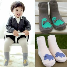 Korean autumn and winter new cartoon dinosaur cartoon cotton baby boys and girls socks baby boy and girl slip socks