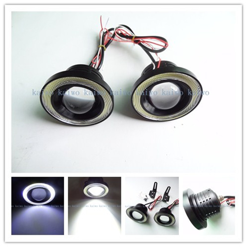 3inch 76MM  lot LED DRL Daytime Running Light COB Projector Fog Lens Angel Eye  Car Styling Free Shipping 10W X 2 LED COB<br>