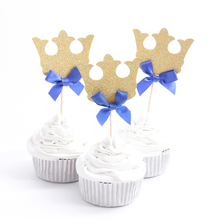 12pcs/lot Prince Crown Cupcake Topper Theme Cartoon Party Supplies Kids Boy Birthday Party Decorations
