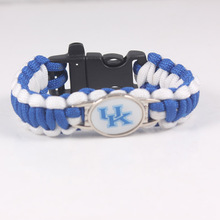 Kentucky Wildcats NCAA College Football Bracelet Outdoor Camping Survival Bracelet Man And Women Paracord Bracelet With Whistle
