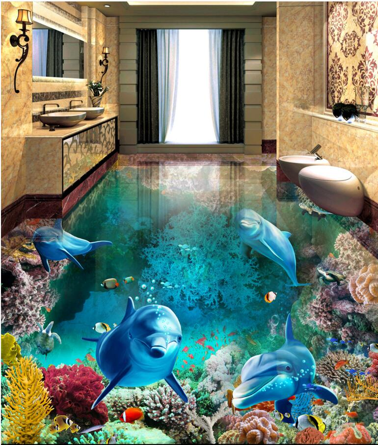 3 d pvc flooring custom photo Self-Adhesive Dolphin Coral Fish picture decoration bedroom painting 3d wall mural wallpaper<br>