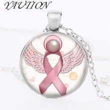 2018 Angel Breast Cancer Awareness Ribbon Swirl Heart Pendant Necklace Glass Art Print Jewelry Charm Gifts For Girls and Ladies(China)