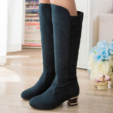 HOT SALE sweet style Nubuck Leather knee-high women boots Plus Size to 41 42 43 44 45 Round Toe zip design Boots Free Shipping
