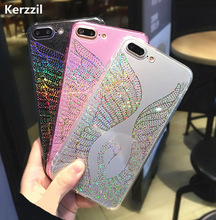 Kerzzil Bling Glitter Peacock Swan Case For iPhone 6 6S Plus 7 Plus Shining Capa For iPhone 7 6 6S Hard Phone Cases Coque