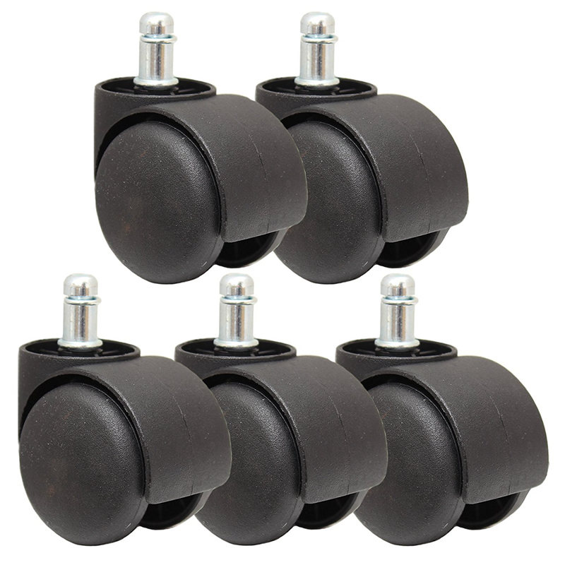 5 x 50mm x 11mm shank  New Black Replacement Castor Wheels for Office Chairs
