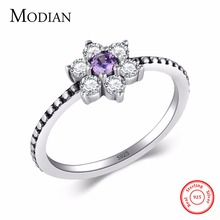 Modian 100% Real 925 Sterling silver Purple Crystal flowers Ring Classic Beautiful Finger Rings Engagement Fashion Jewelry(China)