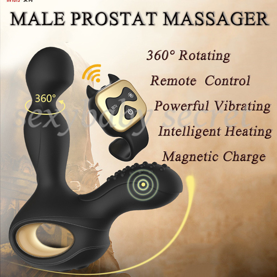 Wireless Remote Control Heating 5 Rotating 10 Vibration Male Prostate Massager Anal Butt Plugs G-Spot Vibrator Sex Toys For Men<br>