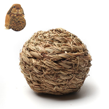 10cm Pet Chew Toy Natural Grass Ball with Bell for Rabbit Hamster Guinea Pig for Tooth Cleaning(China)