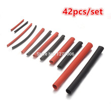 Universal 42pcs/set 2:1 PE Heat Shrink Tubing Sleeving For Car Household Wrap Wire Kit Cable Tool 6 Sizes Red and Black Hot Sale