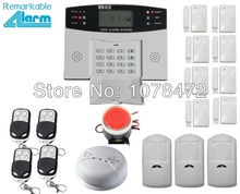 Good quality LCD display Wireless wired Home security GSM Alarm system with 8 door sensor,3 PIR detector+ 1 smoke fire alarm